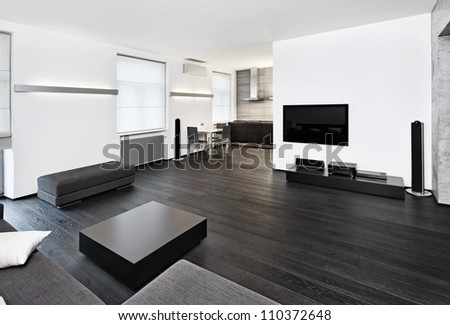 Modern minimalism style sitting room interior in black and white tones - stock photo