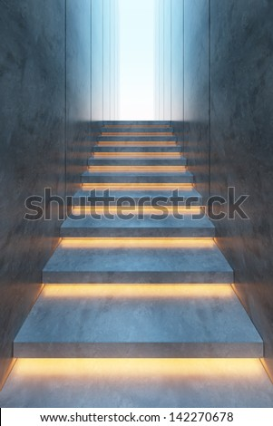 modern minimalism style stairs with night lighting - stock photo