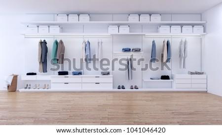 Modern Minimalist Dressing Room Walk In Closet With White Wardrobe3d Rendering
