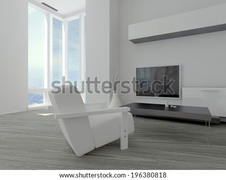 Modern minimalist living room with a white armchair on a parquet floor facing a wall mounted television and floor length windows in the corner - stock photo