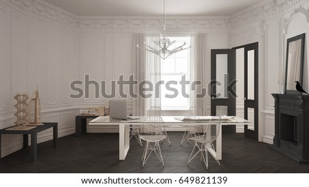 modern minimalist office. Modern Minimalist Office In Classic Vintage Room With Fireplace, Luxury White And Gray Interior Design E
