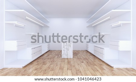 Modern Minimalist Walk In Closet With White Wardrobe Interior Designempty Room Wood Floor