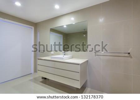 Modern minimalistic bathroom - stock photo
