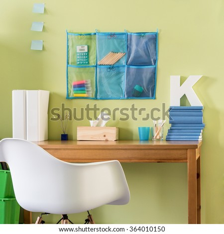 Modern minimalistic home office in bright colors - stock photo