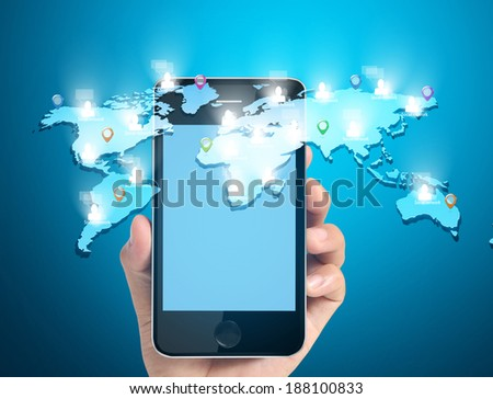 Modern mobile phone in a hand