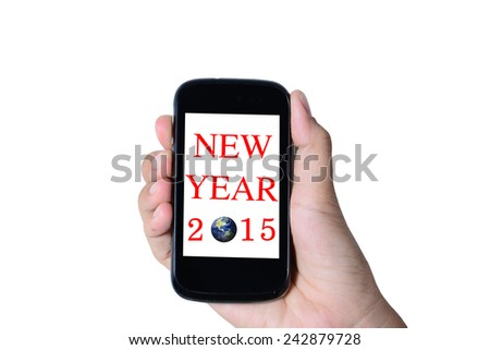 Modern mobile phone in a hand isolated, Business Concept 2015 - stock photo
