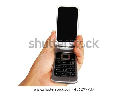 Modern mobile phone in a  man hand isolated