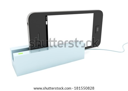 Modern Mobile phone in Card Reader on a white background - stock photo