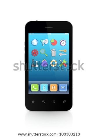 Modern mobile phone.Isolated on white background.3d rendered. - stock photo