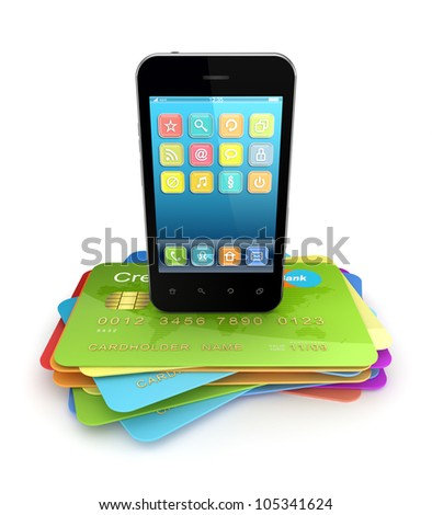 Modern mobile phone on a colorful credit cards.Isolated on white background. - stock photo