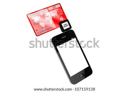 Modern Mobile phone with Credit Card on a white background. - stock photo