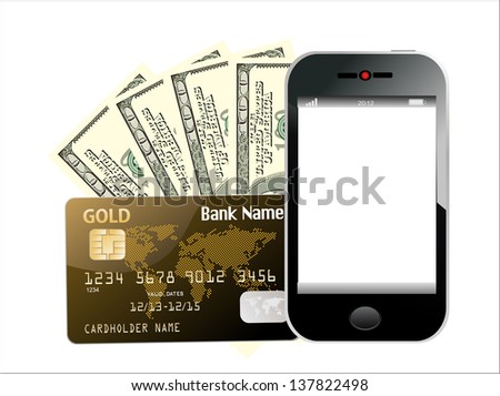 Modern mobile phone with hundred dollar bills and credit card. Illustration of mobile payment concept. Isolated on white. - stock photo