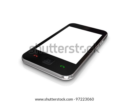 Modern mobile phone with touchscreen.Isolated on white background. - stock photo
