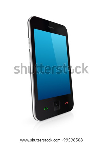 Modern mobile phone with touchscreen.Isolated on white background.3d rendered. - stock photo