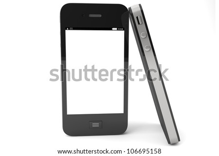Modern Mobile phones with blank screen on a white background. - stock photo