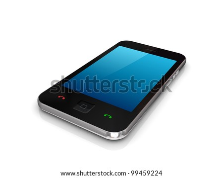 Modern mobile phones with touchscreen.Isolated on white background. - stock photo