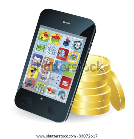 Modern mobile smart phone and coins conceptual illustration. - stock photo