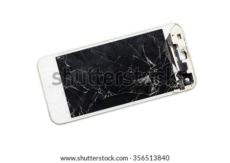 Modern mobile smartphone with broken screen isolated on white background