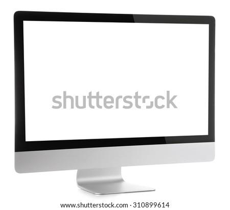 Modern monitor isolated on white - stock photo