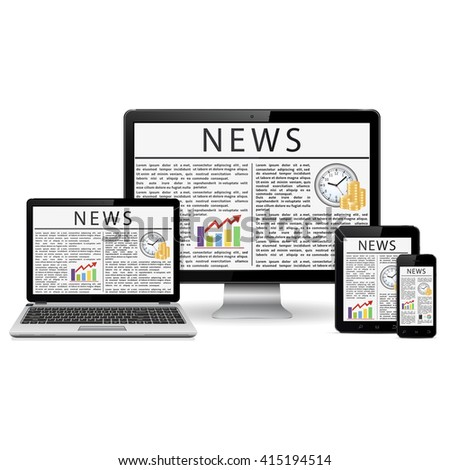 Modern monitor, laptop, tablet pc and smart phone with news pages on screens - stock photo