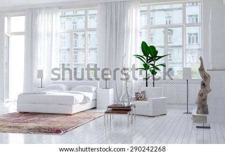 Modern monochromatic bedroom interior in an apartment with large view windows and a double bed alongside an exterior door, bright spacious and sunny. 3d Rendering. - stock photo