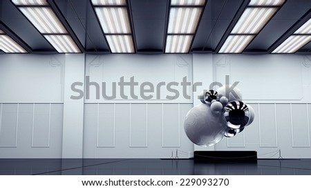 modern monochrome art room with abstract exhibit - stock photo