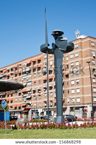 Modern monument Don Quixote in Alcala de Henares, Madrid, Spain - stock photo