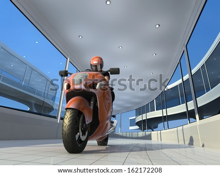 Modern motorcycle in a glass tunnels. - stock photo