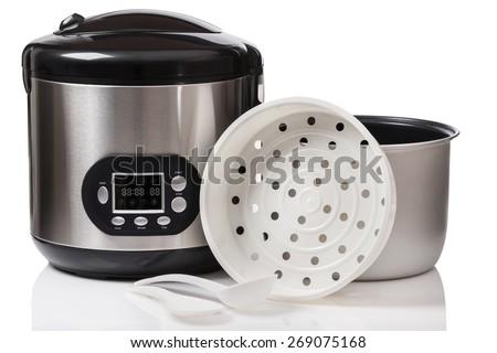 Modern multicooker on white backgound - stock photo