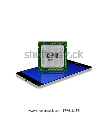 Modern multicore CPU  on smartphone,cell phone illustration - stock photo