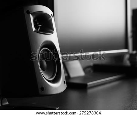 Modern music speakers at recording studio - stock photo