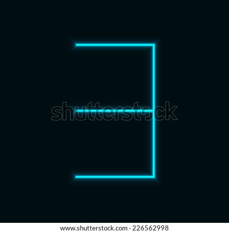 modern neon number on black background.  - stock photo