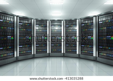 Modern network and telecommunication technology computer concept: 3D render illustration of the server room in datacenter