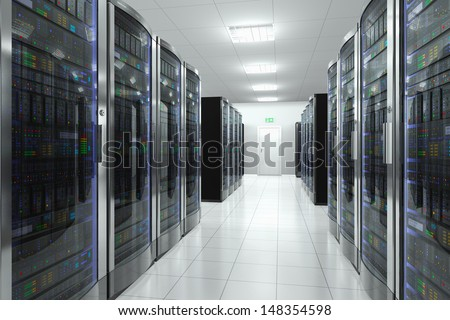 Modern network and telecommunication technology computer concept: server room in datacenter - stock photo
