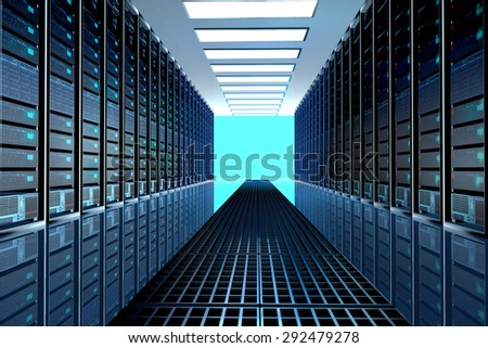 Modern network and telecommunication technology computer concept: server room in datacenter, room equipped with data servers. LED lights flashing. 3D render - stock photo
