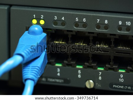 Modern network switch with cables