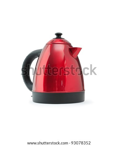 Modern new electric kettle on white background. Isolated with clipping path - stock photo