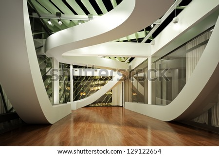 Modern new interior, empty room apartment or office business with city background - stock photo