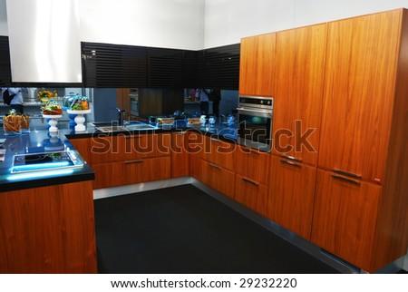 Modern new kitchen luxury interior - stock photo