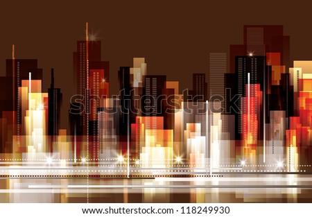 Modern Night Cityscape Background. Raster version - stock photo