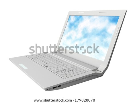 Modern notebook, laptop from white plastic 3d