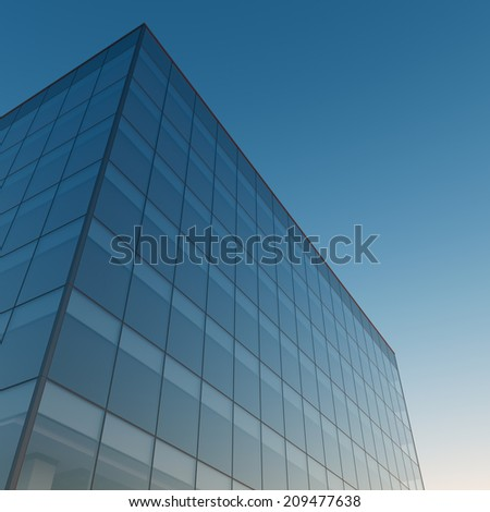 Modern office building and clear sky - stock photo