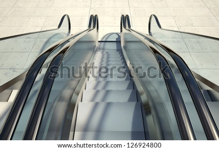 Modern office building and moving escalator stairs - stock photo
