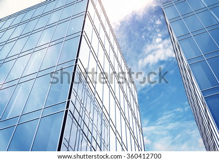 modern office building and sunny sky - stock photo