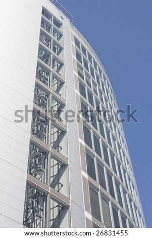 Modern office building at a business center (steel and glass) - stock photo