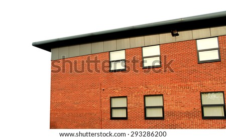 Modern office building exterior on a white background with copy space. - stock photo