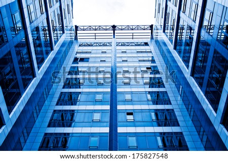 Modern office building from the low view angle  - stock photo