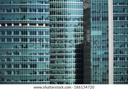Modern office building glass skyscraper window  facade detail - stock photo