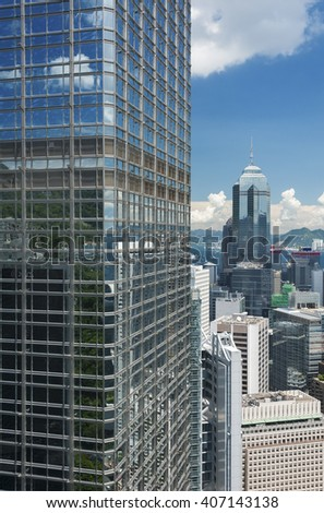 Modern office building in Hong Kong city - stock photo