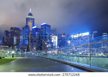 Modern office building in Hong Kong City at night
